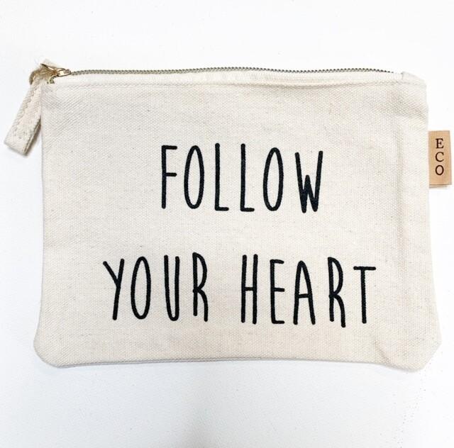 "Zippered Canvas ""Follow Your Heart"" Makeup Bag"