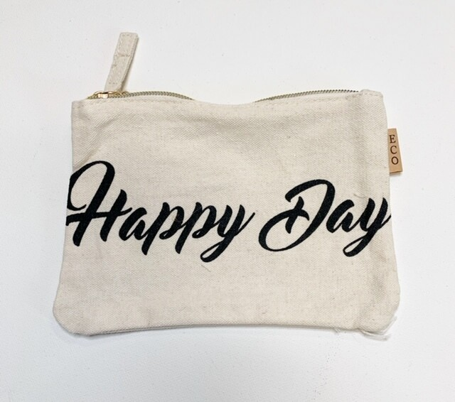 """Zippered Canvas """"Happy Day"""" Makeup Bag"""