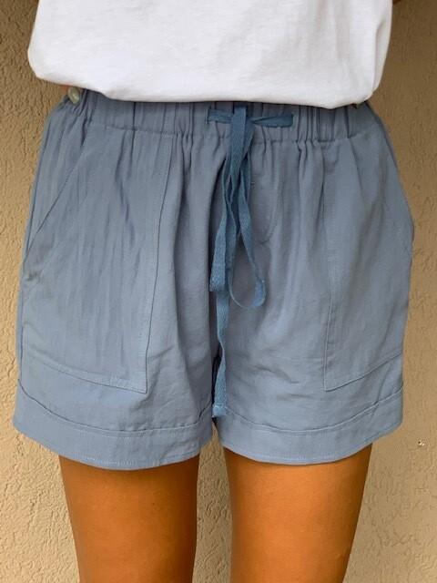 Drawstring Shorts - Slate Blue