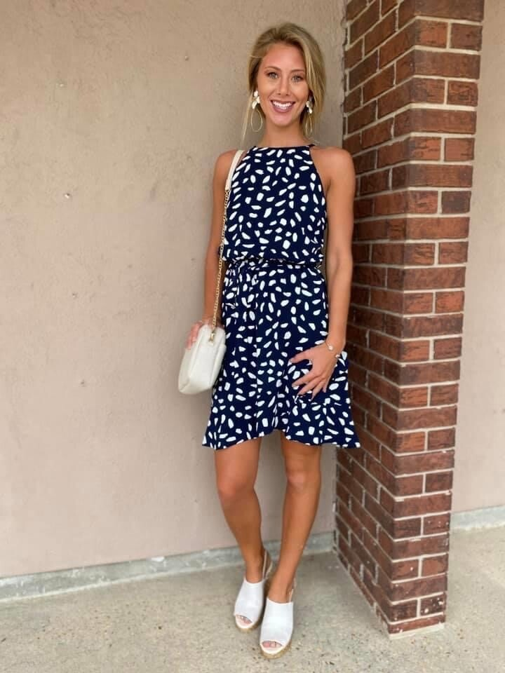 Navy Sleeveless Bubble Dress with Ruffle Hem