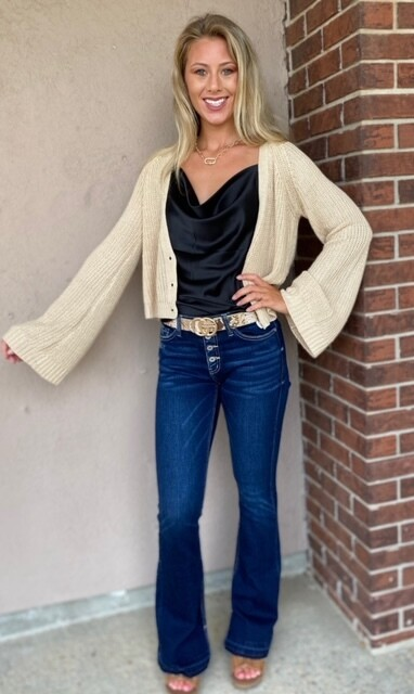 Bell Sleeve Three Button Cropped Sweater, Natural