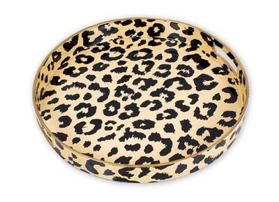 Round Gold\Black Leopard Tray