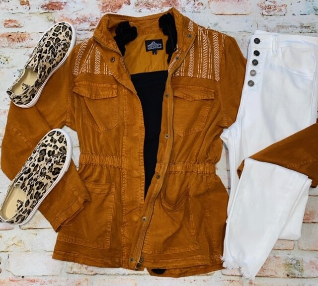 Angie Embroidered Zip Front Rust Jacket