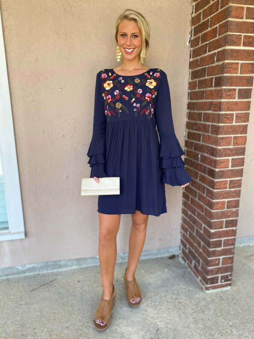 Embroidered Lng Sleeve Dress - Navy