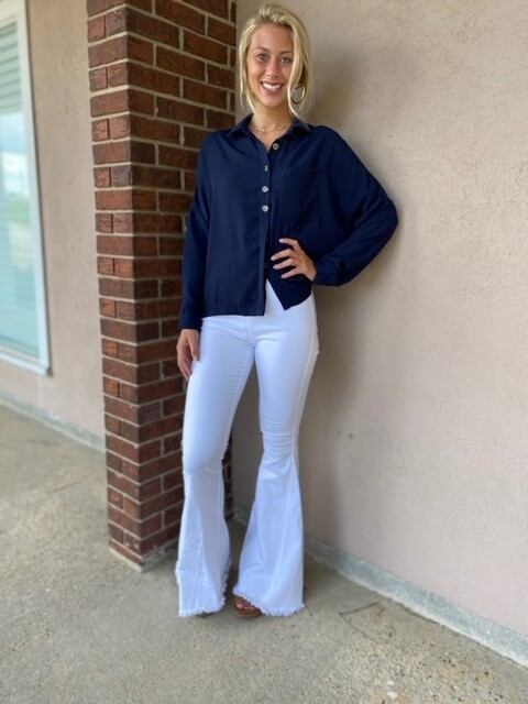 Solid Navy Button Top