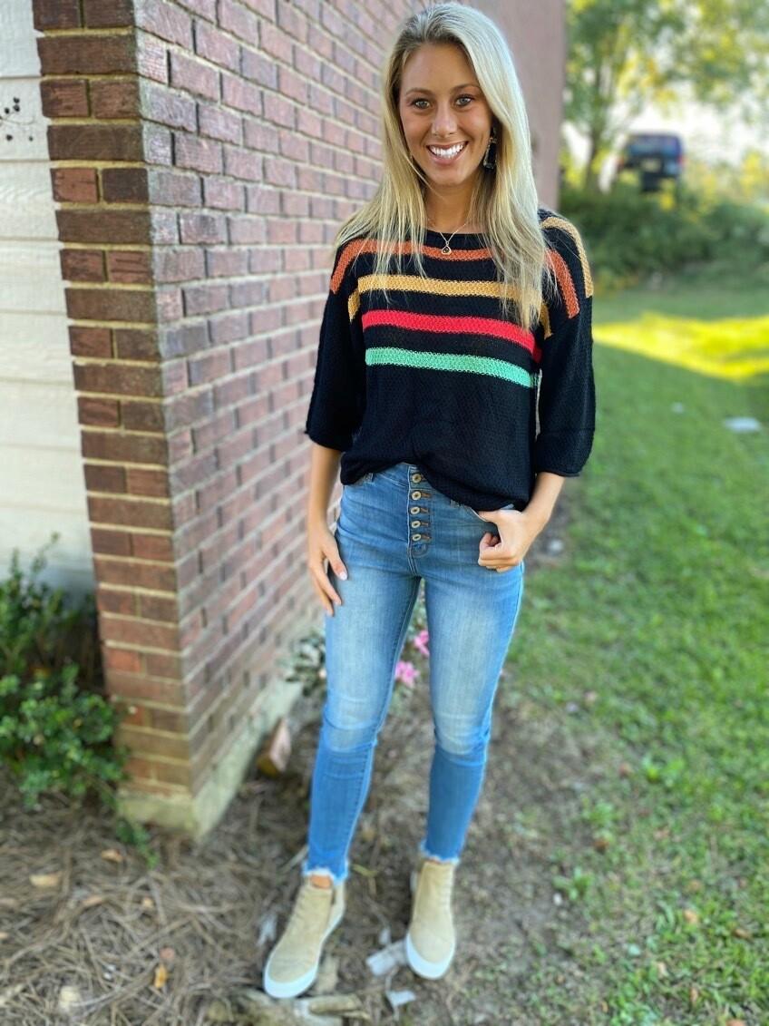 Multi Color Stripe Loose Fit Sweater