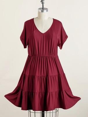 V Neck, Cuffed Sleeve Babydoll Dress - Wine