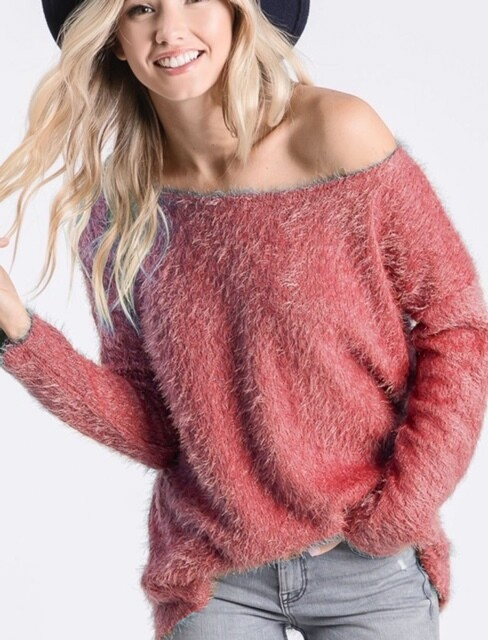 Fuzzy Sweater \ Wide Neck - Brick