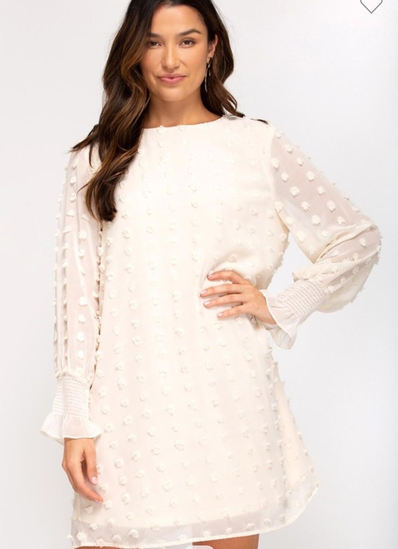 Swiss Dot Dress - Cream