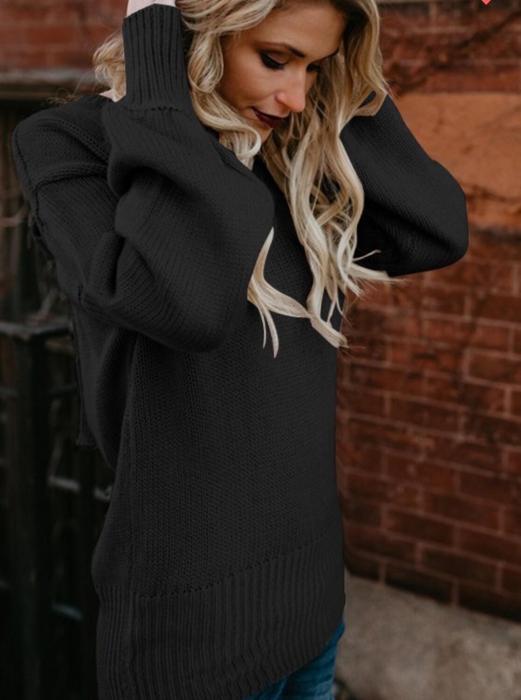 Black Backless Oversized Sweater