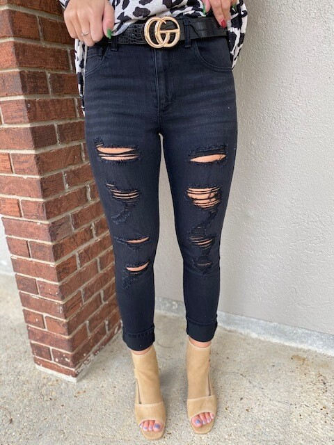 Mid Rise Black Distressed Jeans