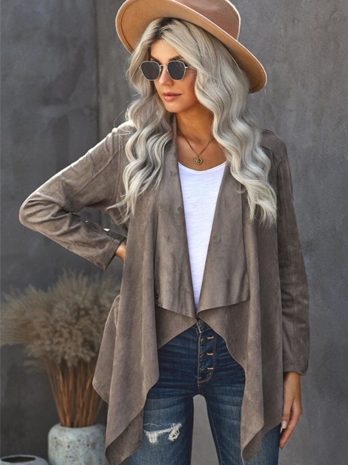 Open Front Stone Suede Cardigan