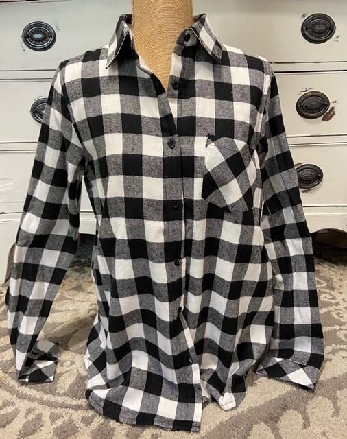 Black\White Check Fleece