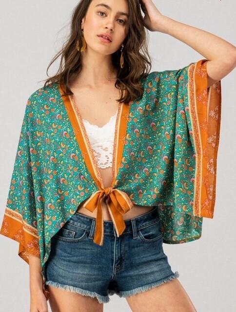 Floral Print Kimono - Turquoise (One Size)