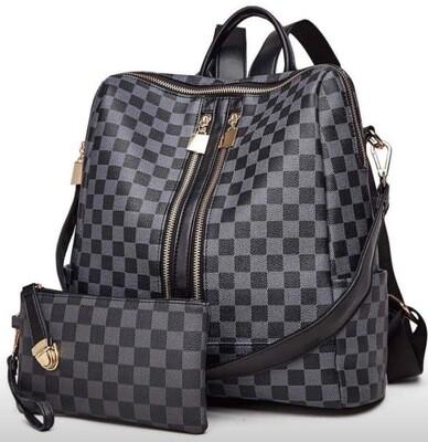 2 Piece Checker Convertible Backpack - Black