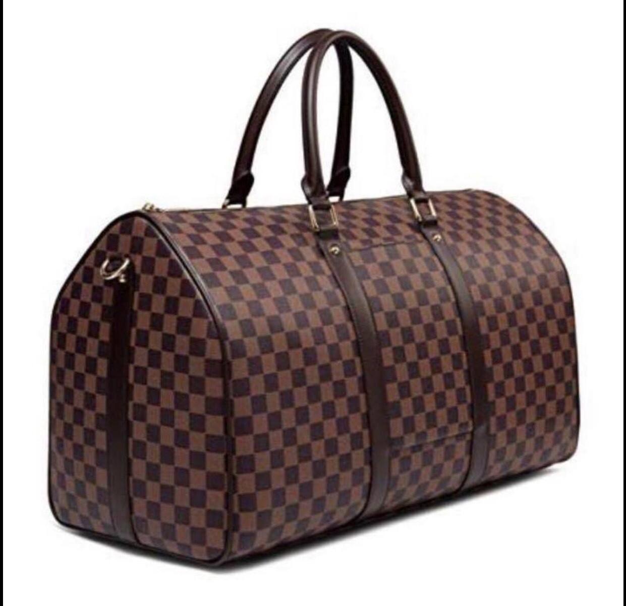 Checker Weekender Bag (Srap Included) Lined - Brown
