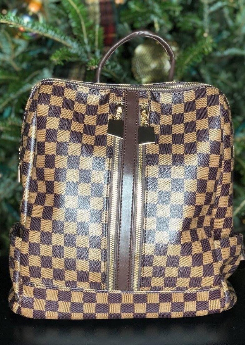 2 Piece Checker Convertible Backpack - Brown