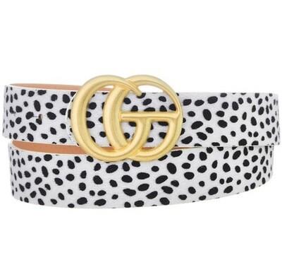 """Fashion Belt - Dalmatian 1.25"""" W, 42"""" L."""