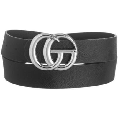 "Fashion Belt 1.25"" W, 42"" L. Black with Silver Buckle"