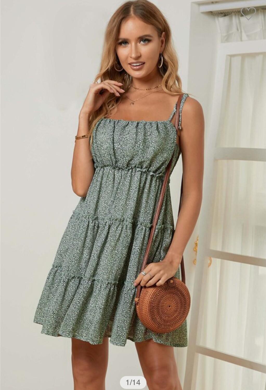 Tie Adjustable Strap Green Print Dress