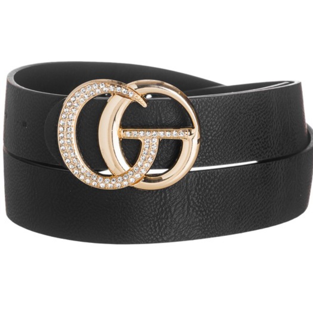 """Fashion Belt -  Black 1.25"""" W, 32"""" L with Rhinestone Buckle"""