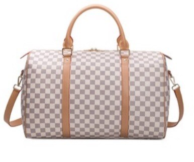 Checker Weekender Bag (Srap Included) Lined - White