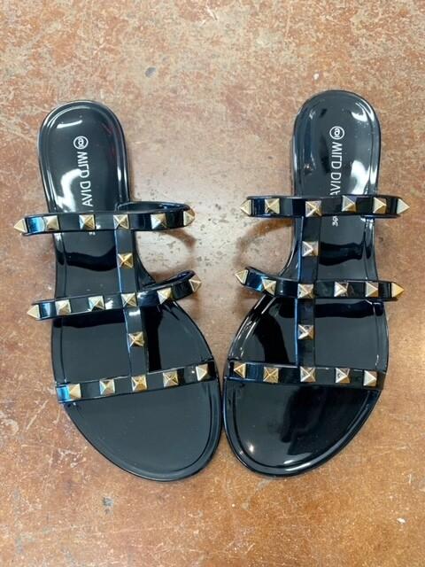 Wild Diva Studded Sandal - Black