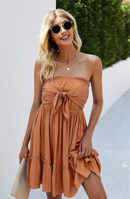 Tie Front Dress - Orange