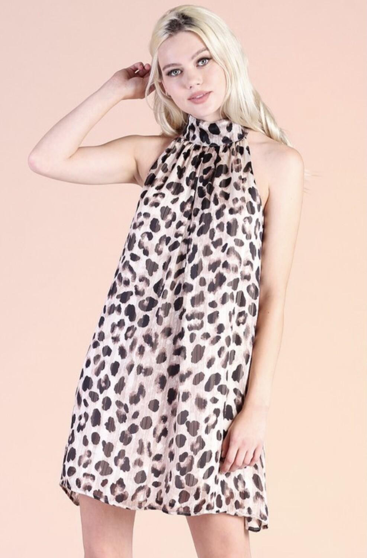 Chiffon Pleated Halter Dress