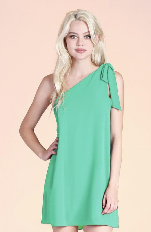 One Shoulder Tie Emerald Dress