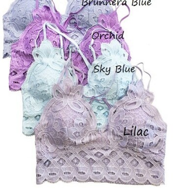 Padded Lace Bralette Sky Blue