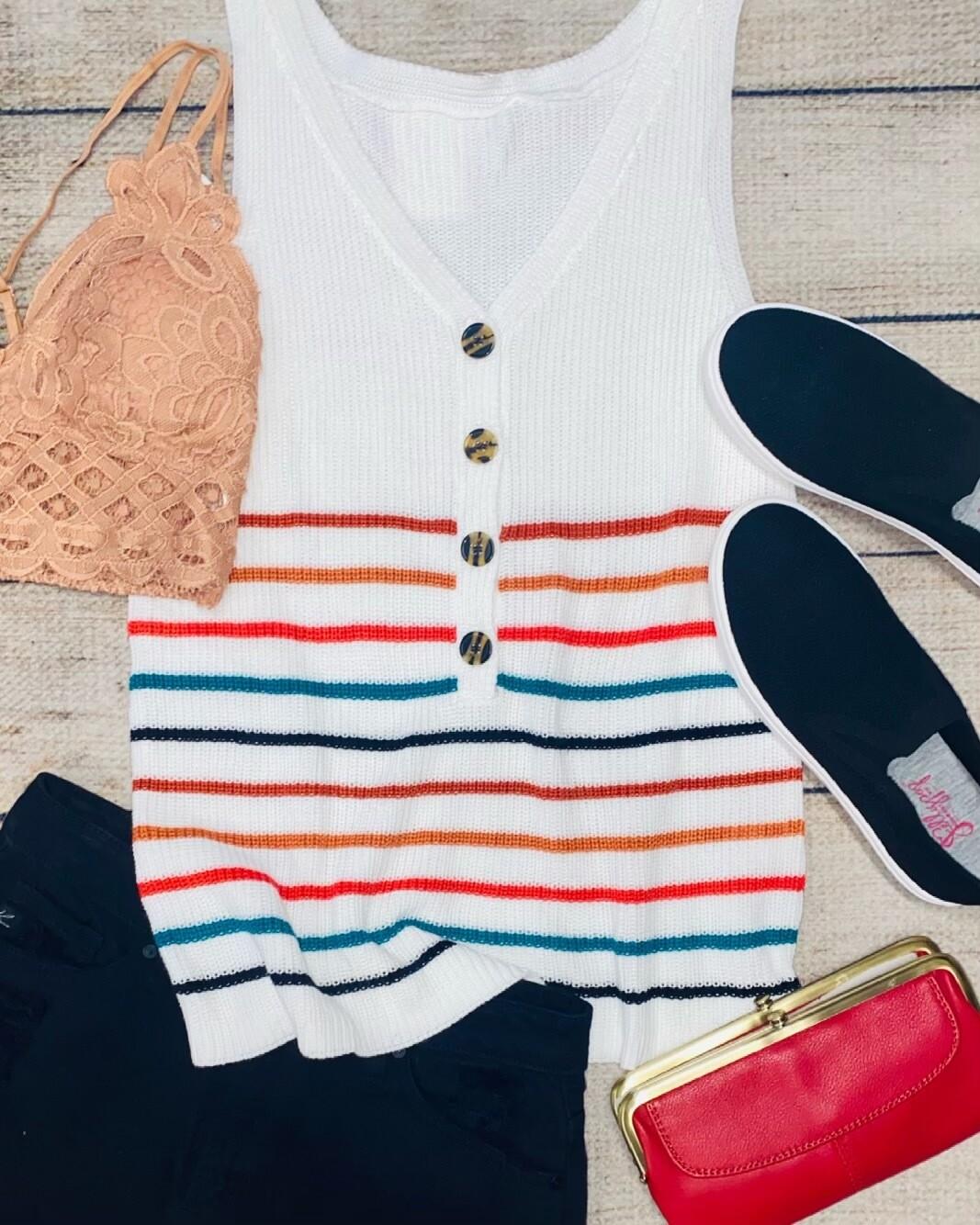 Sleeveless Multi Stripe Sweater