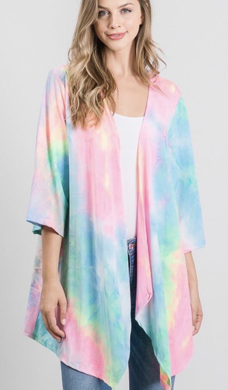 3\4 Sleeve Tie Dye Kimono