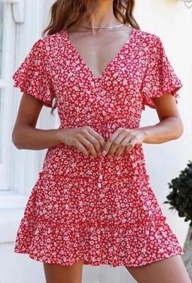 Floral Dress -Red