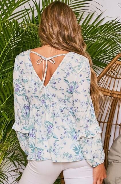 Floral V Neck Line With Back Tie