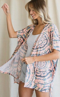 SS Open Front Cardi - Blush\Navy