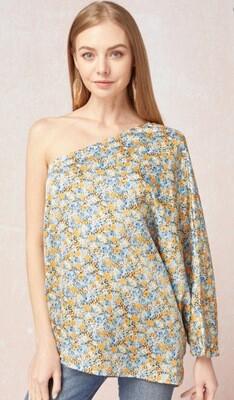 Floral Satin One Shoulder Top