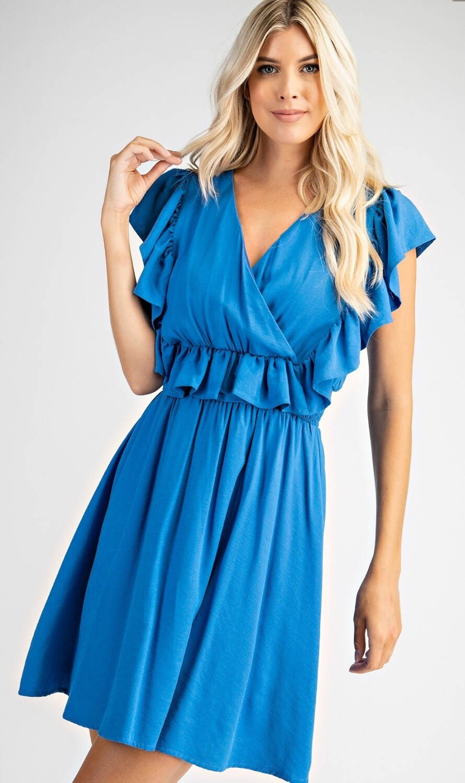 Ruffle Trim Smocked Waist Dress - Blue
