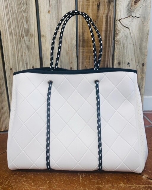 PreneLOVE  Large Tote - Belmont (White Quilted)