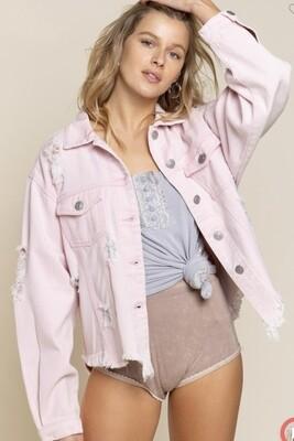 Powder Pink Distressed Denim Jacket