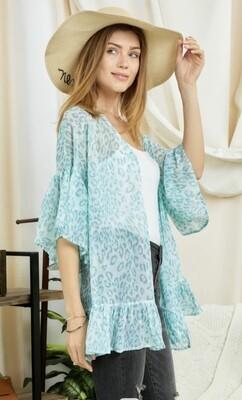 D&D Mint Leopard Kimono