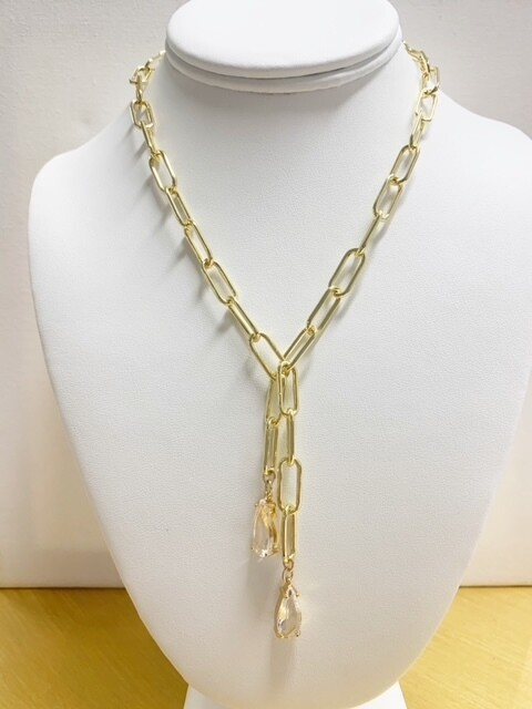 """AA Phoebe Chain with Clear Stones (Toggle Clasp 16"""")"""