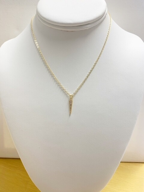 """AA Pave Spike Necklace 16"""" With 2"""" Extender"""