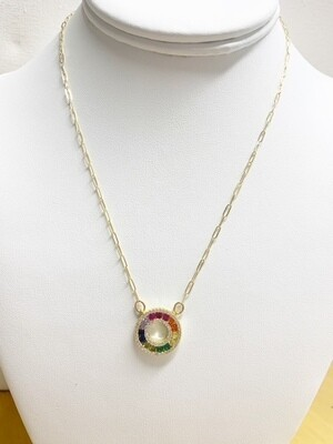 """AA Rainbow Baby Necklace 16"""" with 2"""" Extender"""