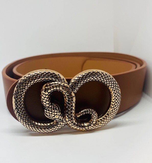 Fashion Belt with Snake Circle buckle - Brown
