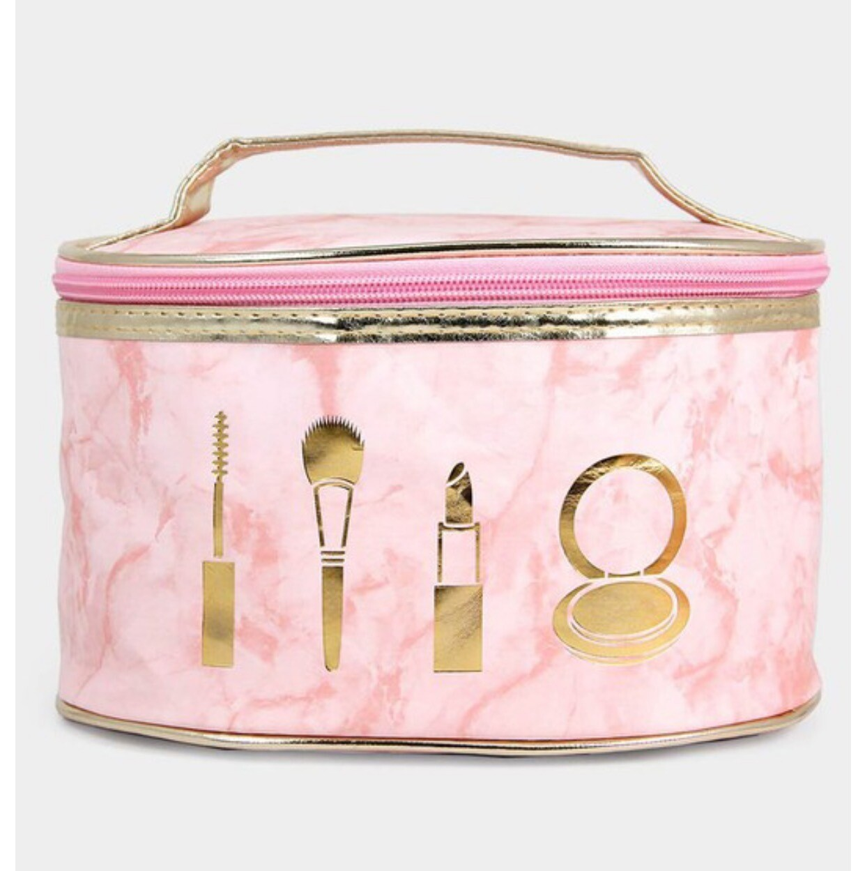 Zippered Make-up Bag - Pink Marble