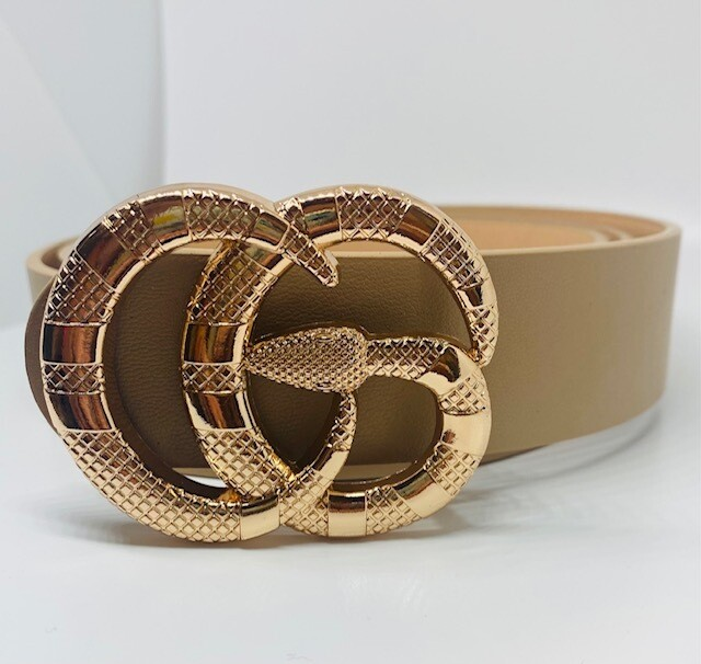 Fashion Belt with Snake Circle buckle - Beige
