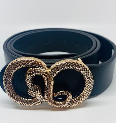 Fashion Belt with Snake Circle buckle - Black