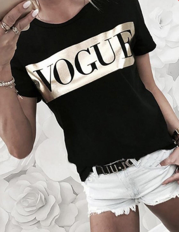 Gold Foil Vogue Tee - Black