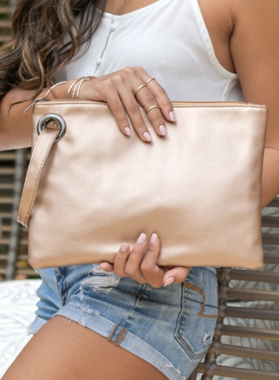 Soft Leather Clutch with Wristlet